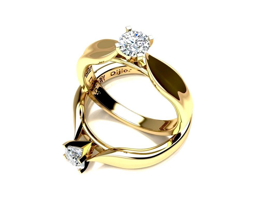 Anel de noivado solitário point de zircônia em ouro 18k